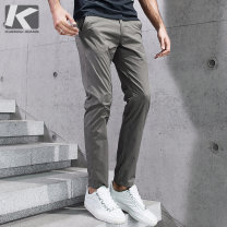 Casual pants Kuegou / cool clothes Fashion City 28/73CM 29/75CM 30/78CM 31/80CM 32/83CM 33/85CM 34/88CM 35/90CM 36/93CM thin trousers Other leisure Self cultivation Micro bomb KK-2397 spring youth Basic public 2019 middle-waisted Straight cylinder Cotton 96% polyurethane elastic fiber (spandex) 4%