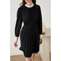 Dress Autumn 2020 black XS,S,M,L Short skirt singleton  Long sleeves commute stand collar middle-waisted Solid color zipper Pleated skirt shirt sleeve Others 25-29 years old Type A HeyDress Simplicity Pleats, folds, stitching, buttons, zippers HQZA445 More than 95% other polyester fiber