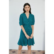 Dress Summer 2021 green XS,S,M,L Short skirt singleton  elbow sleeve commute V-neck High waist Decor Single breasted Ruffle Skirt routine Others 25-29 years old Type A HeyDress Retro 51% (inclusive) - 70% (inclusive) other other