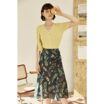 skirt Summer 2021 XS,S,M,L Decor Mid length dress commute High waist A-line skirt Decor Type A 25-29 years old HBQA213 More than 95% Crepe de Chine HeyDress silk Pleating, pleating, three-dimensional decoration, asymmetry, button, zipper, printing Retro