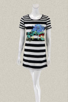 Dress Summer 2020 black 38 s, 40 m Stitching, printing, lace E6001E More than 95% knitting other