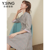 Dress Spring 2020 Ashtray S M L XL Mid length dress singleton  three quarter sleeve commute tailored collar High waist lattice double-breasted A-line skirt routine 25-29 years old Type H gorgeous clothing Korean version Pocket button DSY0031LT112 More than 95% other polyester fiber