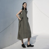 Dress Summer 2020 Army green Average size Mid length dress singleton  Sleeveless Sweet Crew neck middle-waisted Solid color Socket other other Others 18-24 years old Type A Simple BLACK SQ-6142 More than 95% other hemp Mori