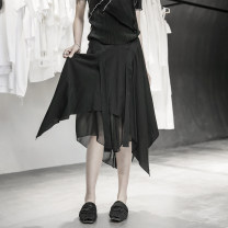 skirt Summer 2020 S,M,L black Middle-skirt Versatile Natural waist Irregular Solid color Type A 18-24 years old More than 95% other Simple BLACK other 101g / m ^ 2 (including) - 120g / m ^ 2 (including)