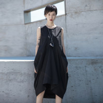 Dress Summer 2020 black S,M,L Mid length dress singleton  Sleeveless street Crew neck middle-waisted Solid color Socket Irregular skirt routine straps 18-24 years old Type A Simple BLACK Q-660 More than 95% other cotton Europe and America