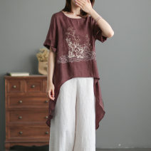 shirt L,XL Summer 2021 hemp 96% and above Short sleeve commute Medium length Crew neck Socket routine Solid color High waist type Other / other literature Embroidery, asymmetric hemp