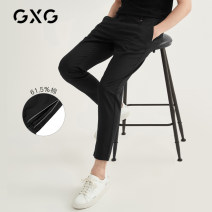Casual pants GXG Youth fashion Black 2 Black 1 165/S 170/M 175/L 180/XL 185/XXL 190/XXXL routine trousers Other leisure Straight cylinder No bullet GB102067C summer youth Business Casual 2020 middle-waisted Little feet Solid color cotton Summer 2020 50% (inclusive) - 69% (inclusive)