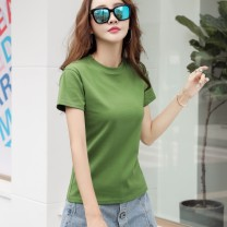 T-shirt Green, white, black, peacock blue, coffee S,M,L,XL,2XL,3XL Summer 2020 Short sleeve Crew neck Self cultivation Regular routine commute cotton 86% (inclusive) -95% (inclusive) Korean version literature Solid color Splicing
