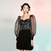 Dress Spring 2021 black 160/84A,165/88A,170/92A Short skirt square neck High waist A-line skirt puff sleeve Type A Sungdo gin / provincial highway tip Patch, lace, pocket, print, stitching cotton