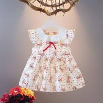Dress female Other / other 73cm,80cm,90cm,100cm,110cm,120cm Cotton 95% other 5% fresh Short sleeve Broken flowers cotton A-line skirt Class A 3 months, 12 months, 6 months, 9 months, 18 months, 2 years old, 3 years old, 4 years old