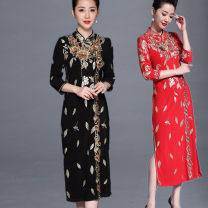 Middle aged and old women's wear Summer of 2019, spring of 2019, autumn of 2019 Black, red, black, gold M,L,XL,XXL,XXXL,4XL,5XL,6XL,7XL,8XL ethnic style Dress Straight cylinder singleton  Decor Socket moderate Medium length Embroidery 81% (inclusive) - 90% (inclusive) longuette Lace Pencil skirt