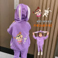 suit Bella Purple rabbit ear Hooded Coat, Meihong female rabbit ear Hooded Coat, purple casual pants, white Nini design t, white Nini fake two T-shirts, Meihong casual pants 73cm,80cm,90cm,100cm,110cm,120cm,130cm female spring and autumn leisure time routine There are models in the real shooting