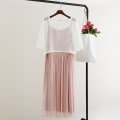 Dress Summer of 2019 Black, white, gray, pink Average size Mid length dress Two piece set Short sleeve Sweet Crew neck middle-waisted Solid color Socket Pleated skirt routine camisole Type A T163 More than 95% cotton