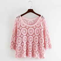 Lace / Chiffon Summer 2020 1 white, 1 beige, 1 blue, 1 pink, 2 white, 2 beige, 2 blue, 2 pink Average size elbow sleeve commute Socket singleton  easy have cash less than that is registered in the accounts Crew neck Solid color pagoda sleeve Other / other Gouhua hollowed out, splicing literature