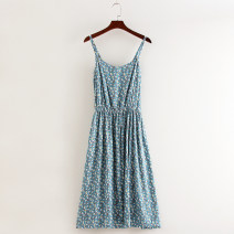 Dress Summer 2020 Small flower on white background , Small flower on blue background Average size Mid length dress singleton  Sleeveless commute V-neck High waist Broken flowers Socket Big swing camisole Type A Other / other literature 81% (inclusive) - 90% (inclusive) brocade cotton
