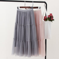 skirt Summer of 2019 Average size White, gray, black, pink, brown, meat pink Mid length dress Versatile Natural waist Pleated skirt Solid color Type A Other / other