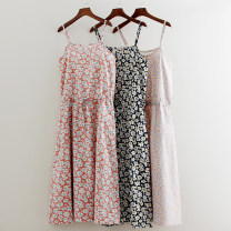 Dress Summer of 2018 Pink flowers, orange foundation, white flowers, black bottom, white flowers. Average size Mid length dress singleton  Sleeveless Sweet Crew neck middle-waisted Broken flowers Socket A-line skirt camisole 18-24 years old Type A Other / other Lace up, printed QY073 cotton Mori
