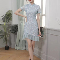 cheongsam Summer 2020 Short sleeve grace No slits daily Oblique lapel Solid color 25-35 years old Piping 5517 Beautiful clothes 96% and above Short cheongsam XXL,S,M,L,XL,3XL wathet