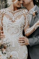 Wedding dress Summer 2020 Nude, cream S,M,L,XL New trend zipper Outdoor Lawn  Lace Three dimensional cutting middle-waisted 18-25 years old Sleeved shawl FANA fairy clothes Large size 96% and above polyester fiber