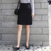 skirt Spring 2021 S,M,L,XL,2XL,3XL Black, blue, black thickened Middle-skirt commute High waist Suit skirt Solid color Type A 18-24 years old Q-0417 More than 95% polyester fiber Zipper, resin fixation, stitching Ol style 201g / m ^ 2 (including) - 250G / m ^ 2 (including)