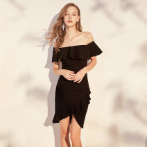 Dress Autumn of 2019 Black, red S,M,L,XL,2XL Mid length dress singleton  Sleeveless commute One word collar High waist Solid color zipper Ruffle Skirt raglan sleeve Others 25-29 years old Type H Daiman party Retro Open back, zipper, swallow tail 30% and below knitting nylon