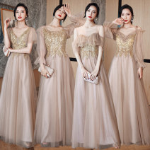 Dress / evening wear wedding Xs, s, m, l, XL, XXL, customized + 40 yuan (non refundable) A long, B long, C long, d long, a medium long, B medium long, C medium long, D medium long Korean version longuette middle-waisted Spring 2021 A-line skirt U-neck Bandage Netting 18-25 years old CLF853 Embroidery