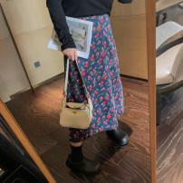 skirt Winter 2020 L,XL,2XL,3XL,4XL,5XL Blue (spot) longuette commute High waist A-line skirt Decor Type A 25-29 years old 30% and below Chiffon polyester fiber printing