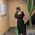 Dress Summer 2020 Black (stock) L,XL,2XL,3XL,4XL longuette singleton  commute square neck High waist Solid color Socket A-line skirt other Korean version Xzmx20494 dress with thin design 30% and below