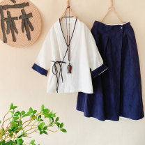 Fashion suit Spring 2020 Average size Top - white, top - Navy, skirt - white, skirt - Navy 25-35 years old Other / other MM040050 51% (inclusive) - 70% (inclusive) hemp