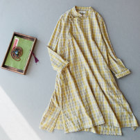 Dress Spring 2020 Light green, light blue, yellow Average size Mid length dress singleton  Long sleeves commute stand collar Loose waist lattice Socket A-line skirt routine 25-29 years old Type A Other / other Retro Pockets, panels, buttons LT065 71% (inclusive) - 80% (inclusive) hemp