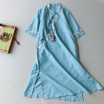 Dress Summer 2020 Pink, blue, white, purple Average size Mid length dress singleton  Short sleeve commute stand collar Loose waist Socket A-line skirt routine 25-29 years old Type A Other / other Retro Embroidery, stitching, buttons LF068 71% (inclusive) - 80% (inclusive) hemp