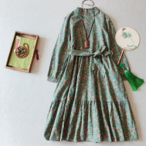 Dress Spring 2021 Green, blue, khaki Average size Mid length dress singleton  Long sleeves commute stand collar middle-waisted Broken flowers Socket A-line skirt routine 25-29 years old Type A Other / other Retro Button, pocket, print, stitching, lace up, bandage XY075 More than 95% other hemp