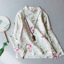 shirt Peach blossom, lotus Average size Spring 2021 hemp 71% (inclusive) - 80% (inclusive) Long sleeves commute Regular stand collar Socket routine Broken flowers 25-29 years old Straight cylinder Other / other Retro HL060 Button, print, stitching hemp