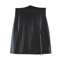 skirt Autumn 2020 S,M,L black Short skirt Versatile High waist A-line skirt Solid color Type A 25-29 years old polyester fiber zipper