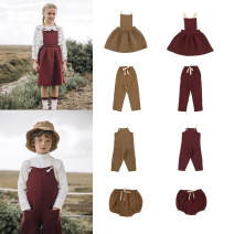 Dress female Other / other Flax 95% others 5% spring and autumn Europe and America Long sleeves Solid color flax Strapless skirt 2 years old, 3 years old, 4 years old, 5 years old, 6 years old, 7 years old, 8 years old Chinese Mainland