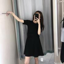 Dress Summer of 2019 black S,M,L Mid length dress singleton  Short sleeve commute Crew neck High waist Solid color zipper A-line skirt routine Type A Korean version