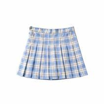 skirt Summer 2020 XS,S,M,L Sky blue grid, purple grid Short skirt fresh High waist Pleated skirt lattice Type A