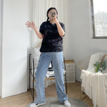 Jeans Spring 2021 blue XL,2XL,3XL,4XL,5XL trousers High waist Wide legged trousers routine 18-24 years old Make old, wash, embroider, whiten Cotton denim light colour N27 Other / other 81% (inclusive) - 90% (inclusive)