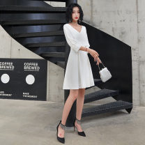 Dress / evening wear Wedding, adulthood, party, company annual meeting, performance, routine, appointment XXL,XS,S,M,L,XL White, black Korean version Short skirt middle-waisted Winter of 2019 Skirt hem Deep collar V zipper Brocade 18-25 years old HQLF154 three quarter sleeve Solid color Pretty face