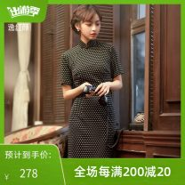 cheongsam Spring 2021 S M L XL 2XL Single layer white daisy with black background Short sleeve long cheongsam Retro Low slit daily Round lapel Broken flowers Over 35 years old Piping 2113Q05SZ4MK E. Beauty / Beauty polyester fiber Pure e-commerce (online only) 31% (inclusive) - 50% (inclusive)