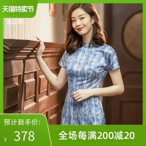 cheongsam Spring 2021 S M L XL XXL Rose denim Short sleeve long cheongsam Retro Low slit daily Round lapel other Over 35 years old Piping 2124Q02LZ2MU E. Beauty / Beauty polyester fiber Polyester 100% Pure e-commerce (online only) 96% and above