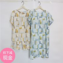 Pajamas / housewear set female Refined and elegant M,L,XL Yellow suit, blue suit, yellow nightdress, blue nightdress cotton Short sleeve Sweet Leisure home summer ultrathin Crew neck Geometric pattern Cropped Trousers Socket youth 2 pieces rubber string 61% (inclusive) - 80% (inclusive) printing
