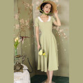 Dress Summer 2021 Light green Mid length dress singleton  Short sleeve commute Doll Collar High waist Solid color zipper Big swing puff sleeve Others Type X Retro More than 95% other other