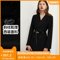 Dress Autumn 2020 Black spot Khaki spot clear water blue S M L XL Short skirt singleton  Long sleeves tailored collar High waist double-breasted Pleated skirt routine 25-29 years old Type X DPLAY Pleated button DB0305006 71% (inclusive) - 80% (inclusive) other polyester fiber