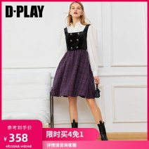 Dress Winter 2020 Purple Plaid - spot Scotland Plaid - spot S M L XL Middle-skirt singleton  Sleeveless High waist other zipper Big swing other 25-29 years old Type X DPLAY Button DB0405008 71% (inclusive) - 80% (inclusive) polyester fiber Pure e-commerce (online only)