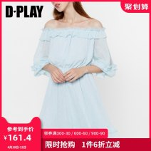 Dress Summer of 2019 The second batch of blue S M L XL Middle-skirt singleton  elbow sleeve Sweet One word collar High waist other other Princess Dress puff sleeve Others 25-29 years old Type A DPLAY Lotus leaf edge D9205188 More than 95% other polyester fiber Polyester 100% princess