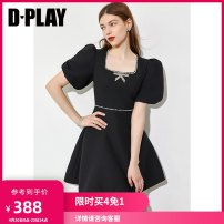 Dress Summer 2021 Classic black - spot classic black - take May 10 Hair classic black - take 20 days hair clear water blue S M L XL Short skirt singleton  Short sleeve commute square neck High waist Solid color other A-line skirt puff sleeve 25-29 years old Type A DPLAY Retro Bow diamond DC1205179