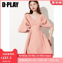 Dress Summer 2020 Pink orange S M L XL Middle-skirt singleton  elbow sleeve commute V-neck High waist other Big swing Bat sleeve Others 25-29 years old Type X DPLAY lady fold DC0205363 More than 95% Chiffon polyester fiber Polyester 100% Pure e-commerce (online only)