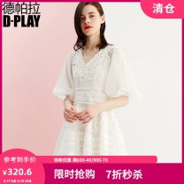 Dress Summer of 2018 S XL L M Mid length dress singleton  elbow sleeve commute V-neck High waist Broken flowers zipper other puff sleeve Others 25-29 years old Type A DPLAY lady Lace More than 95% other polyester fiber Polyester 100% Pure e-commerce (online only)