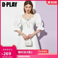 Dress Summer 2021 Fashion white - spot fashion white - hair around April 17, fashion white - hair around 20 days S M L XL Short skirt singleton  Short sleeve Sweet square neck High waist other other A-line skirt puff sleeve 25-29 years old Type A DPLAY Bow fold DB1205082 More than 95% polyester fiber